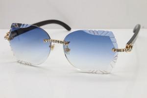 New Esculpido Lens óculos de sol Preto chifre de búfalo armações de óculos sem aro novo pequeno diamante 8200762A óculos de sol óculos de condução Tamanho: 60-20-140mm