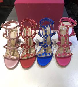 Sandal Rivets boucle cheville Escarpin Sandales souples Chaussures en cuir caoutchouc bas Bretelles réglables 9.5cm Multicolor avec la boîte