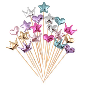 Cakelove 5 pcs lot Lovely Heart Star Crown Cake Topper For Birthday Cupcake Flag Baby Shower Party Wedding Decoration Supplies