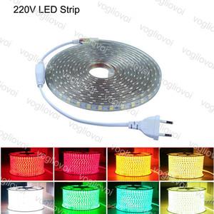 LED tira luzes 100m 220v alta tensão smd 5050 rgb led tiras luzes ip67 outdoor iluminação barra bar bar festa de natal dhl