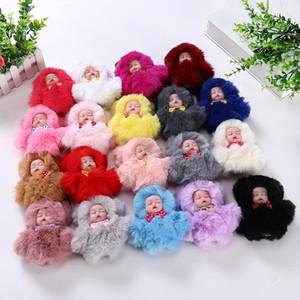 Cute dormire Catena Baby Doll Portachiavi Pompon sfera moschettone portachiavi Portachiavi Donne chiave bambini pendente del sacchetto chiave Anello favore RRA2894
