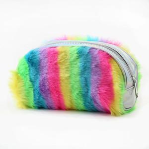 Rainbow Laser sac cosmétique porte-monnaie femmes enfants Filles dessin animé Zipper Pochette portefeuille en peluche 2 couleurs C5597