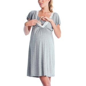 Womens Mother Cotton Blend Lace Dresses Pregnants Casual Summer Solid Color Nursingbaby For Maternity Pajamas Dress