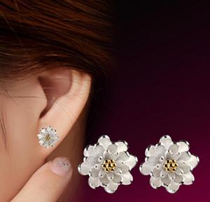 925 Sivler banhado brincos Moda flor da margarida crisântemo Ear Stud Brinco Jóias por Mulheres Alta Qualtiy frete grátis