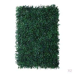 2pcs Artificial Plant Wall Panel Grass Foliage Turf for Wedding Venue Shop Window Decor Garden Ornament Photo Props, 60x40cm