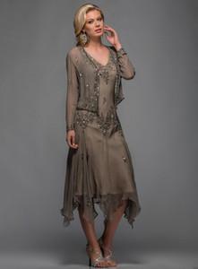 2020 Scala Tee Länge Mutter der Braut-Bräutigam-Kleider mit Bolero Applikationen und Perlen V-Ausschnitt A Line Abendkleider Plus Size