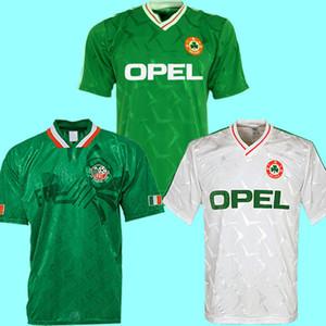 Thailand 1990 1992 1994 Irland RETRO Fußballjersey-Fußballhemd Republik Irland Nationalmannschaft Trikots 90 WM-94-Kit grün weiß