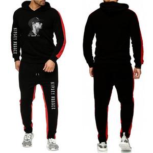 2 piezas de diseñador chándales de rayas Impreso de manga larga con capucha de dos piezas de los deportes de la ropa masculina Nipsey Hussle para hombre