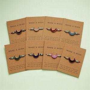 Machen Sie einen Wunsch Bunte Naturstein gesponnenes Armband Einstellbare Lederband Armbänder Femme Fashion Weihnachten Schmuck