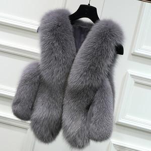 Casaco Curto pele do falso do Vetement 2019 Vetement Mulheres Femme Jackets Vest Fluffy Coletes Artificial Fake Fur Gilet ZM34