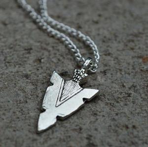 La moda de joyería de plata de la vendimia Spartan guerrero Panson flecha lanza colgante, collar de la joyería amigo bueno, la cadena de clavícula regalo 510