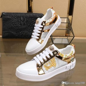 Europe station 2020 new white shoes Medusa fashion lace up shoes leather casual men's shoes top quality