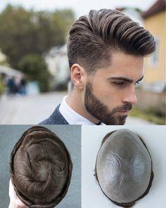 8X10 inç Full Pu Erkekler Toupees İnce Cilt Poly İnsan Saç Erkekler Peruk Hint Saç NG 4. V-düğüm Hairpieces Yenileme Sistemi