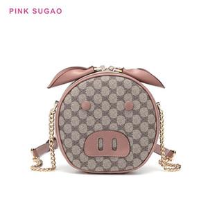 Diseñador-rosa Sugao nuevos estilos crossbody diseñador de bolsos de las mujeres forma del cerdo bolsa de hombro lindo bolsas pequeñas PU del bolso de cuero del mensajero