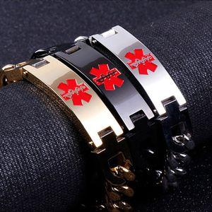 Noir/Argent / Or Couleur Punk lien alerte ID Bracelets Pour Hommes En Acier inoxydable Personnalisé Hommes de bracelet