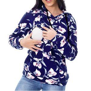 ARLONEET Maternidad embarazada Mama sudaderas con capucha de las mujeres de enfermería de maternidad de manga larga floral Lactancia con capucha sudaderas L1114