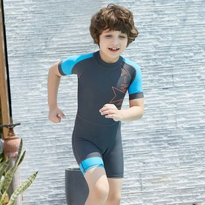 Boys Girls Diving One Piece Short Sleeves Wetsuits Children UV Protection Swimsuit Surfing Rash Guards Diving Suits