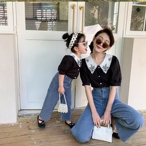 Mother Daughter Outfits Black White Shirt+blue High waist Wide Leg Denim Pants Parent-child Clothing Family Outfit E22065