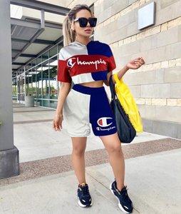 Mujeres chándal con capucha pantalones cortos trajes de marca de verano ropa de mujer sexy crop top pantalón corto traje deportivo casual klw1559
