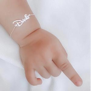 Los regalos personalizados ID joyería infantiles letra de la manera pulsera tobillera de la placa de características Nombre de encargo del bebé pulseras de acero inoxidable de las mujeres