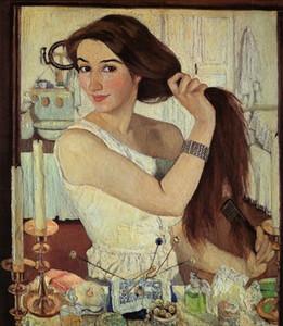 Zinaida Serebriakova Selbstporträt Wohnkultur Handwerk / HD-Druck-Ölgemälde auf Leinwand-Wand-Kunst-Bild 191116