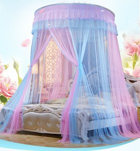 Pink+Blue Round Lace Hanging Dome Princess Mosquito Net Bed Nets Curtain Dome Princess Queen Canopy Palace Mosquito Nets Hot Sale