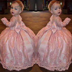 Blush rosa Flor Meninas Vestidos com manga comprida 2020 Adorável Bow Jewel Neck Lace Applique Little Princess Comunhão Pageant Vestidos