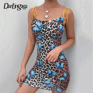 Darlingaga Backless borboleta estampa de leopardo vestido de verão mini cinta vestido ocasional vestido de verão lace up vestidos sensuais para as mulheres vestido