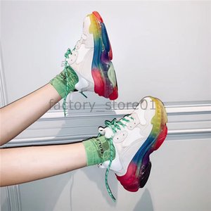 Nuevo Crystal Bottom Triple-S zapatos de ocio Paris Luxury Dad Shoes Rainbow Triple S Sneakers para hombre Mujer Vintage Kanye Old Grandpa Trainer