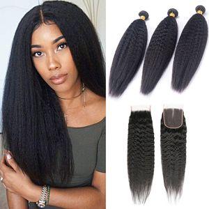 Brasilianisches Menschenhaar 3 Bündel mit 4X4-Spitze-Schliessen verworrene gerade Haarprodukte 8-28inch Haar-Einschlagfaden mit Verschluss Natural Color