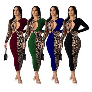 Frauen Plus Size Leopard-Fall-beiläufige Kleider Panelled Langarm-reizvolle Verein Rock Maxikleider Herbst-Winter-Kleidung Kostenloser Versand DHL 1911
