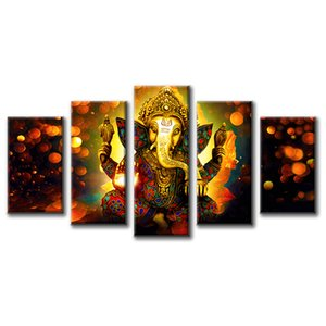 5 Piece Hindu God Ganesha Elephant Picture Wall Art Canvas Printed for Living Room Decorative Painting Modern Home Decor