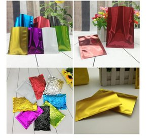 New Multi Size Colored Heat Seal Aluminum foil bag Mylar Foil bag Smell Proof Pouch open Top Packaging Bags Coffee Tea Cosmetic Sample A464