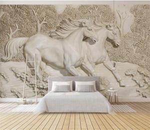 Papel де Parede 3d Relief лошадь фото Mural Обои Гостиная Спальня Landscape Обои домашний декор Живопись 3D