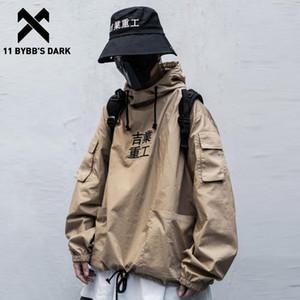 11 BYBB buio Patchwork tasche Streetwear degli uomini di Hip Hop Lettera ricamo 2020 Pullover Moda Techwear maschio cappotti neri