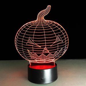 Abóbora de Halloween 3D Controle Led Night Light 7 Cor Alternativa LED Lâmpada de mesa Lâmpada de mesa Presente de Natal