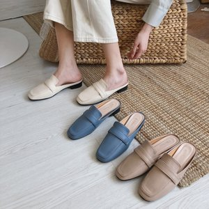 Mules Womens Shoes Flat Slippers Cover Toe Loafers Socofy Designer Slides Summer Soft  2019 Sliders Fabric PU Rome
