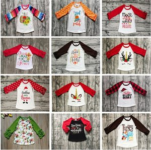 Halloween Natale Neonate Vestiti T-shirt manica lunga autunno Bambini Bambina Dot Volant Top Top Baby Unicorn Letter Top in cotone zucca