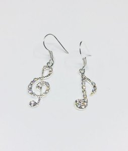 Diamond-studded earrings female fashion asymmetric geometric notes music asymmetric earrings