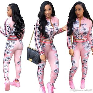 Autumn Suit-dress Printing Long Sleeve women cardigan sports sportwear woman hoodies sets Printed tops Print tracksuit for jogging clothes