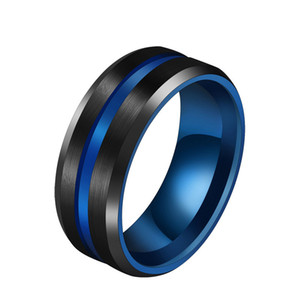 8mm Groove Rings Titanium Stainless Steel Designer Wire-drawn Ring For Women Men Wedding Bands Rainbow Rings Male Jewelry