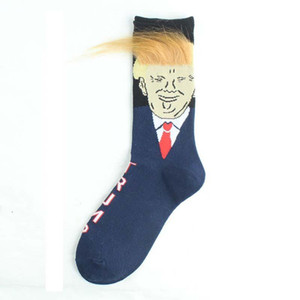 2020 Vendita calda Pensidente divertente Donald Truck Socks con 3D Falso Capelli Crew Crew Socks Mens Compression Socks 2020 Elezione Spoof Streetwear