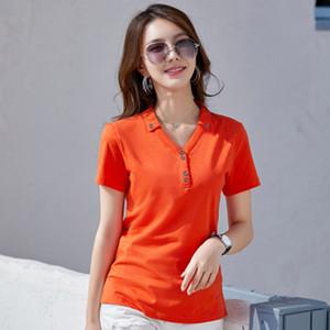 GGRIGHT de haute qualité Taille plus Chemises femmes coréennes 2020 Printemps Courtes en coton à manches Tops Bouton Femme Noir