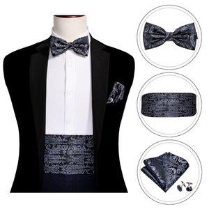 Black Paisley Men Cummerbund Silk Floral Bow Tie Set Pocket Square Cufflink Formal Tuxedo Suit Accessories Barry.Wang B-100
