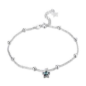 Nova Listagem 925 Sterling Silver Skyllet Star Anklets com azul de cristal moda jóias fazendo para mulheres presentes frete grátis SVA602