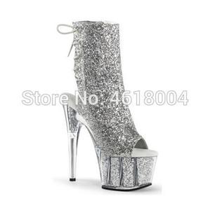 KALMALL Glitter Fetisch Schuhe Bling Ankle Boots Nachtclub-Tänzerin Plattform-Absatz-Gladiator schnüren sich oben Super-Heels Pole Dance