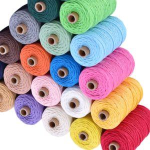 3 mm 100% coton cordon de cordon coloré corde Beige Craft Twisted macramé chaîne de bricolage Home Textile mariage offre de décoration 110yards