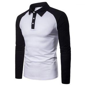 T 셔츠 패션 대비 색 티셔츠 캐주얼 긴 소매 옷 깃 넥 티셔츠 남성 패션 남성 디자이너 패널로