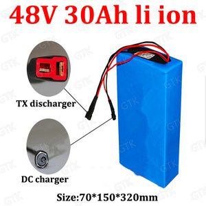 GTK personalizado 48v 30Ah litio ion batería 18650 con BMS 48v li-ion para 350w - 2500w bicicletas Scooter E bicicleta + cargador 5A