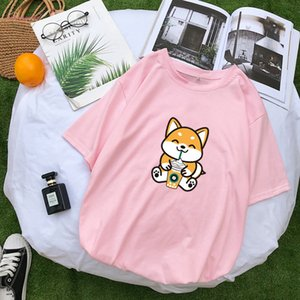 Harajuku Tshirt Women Causal Kawaii Funny Shiba T Shirt Cotton Tops Short Sleeve Tee Shirt Streetwear Loose Korean Clothes